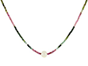 Pre-Owned Round Multi-Tourmaline With Cultured Freshwater Pearl Rhodium Over Silver Necklace
