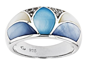 Pre-Owned Blue & White South Sea Mother-of-Pearl Rhodium Over Sterling Silver Ring
