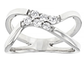 Pre-Owned White Cubic Zirconia Rhodium Over Sterling Silver Ring 0.50ctw
