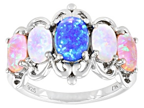 Pre-Owned Blue Lab Created Opal Rhodium Over Sterling Silver Ring