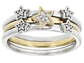 Pre-Owned White Diamond Accent Rhodium And 14k Yellow Gold Over Sterling Silver Set Of 3 Celestial R