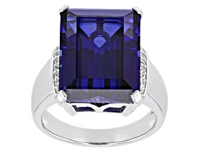 Pre-Owned Blue Lab Created Sapphire Rhodium Over Sterling Silver Ring 12.05ctw