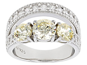 Pre-Owned Yellow And White Cubic Zirconia Rhodium Over Sterling Silver Ring. 4.33ctw