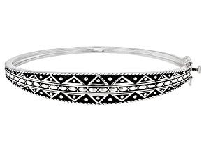 Pre-Owned Rhodium Over Sterling Silver Tribal Design Bangle Bracelet
