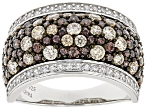 Pre-Owned Mocha, Champagne, And White Cubic Zirconia Rhodium Over Sterling Silver Ring 3.32ctw