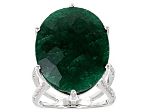 Pre-Owned Green Beryl Rhodium Over Sterling Ring 18.40ctw