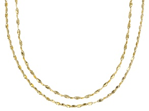 Pre-Owned 10k Yellow Gold Flat Cable 18 inch and 20 inch Chain Necklace set of two
