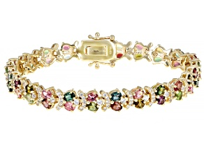 Pre-Owned Mixed-Color Tourmaline 18k Yellow Gold Over Sterling Silver Bracelet 8.24ctw