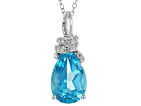 Pre-Owned Blue Paraiba™ Topaz Silver Pendant With Chain 3.24ctw