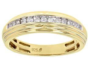 Pre-Owned White Diamond 14k Yellow Gold Over Sterling Silver Men's Band Ring
