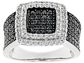 Pre-Owned Black Spinel Rhodium Over Sterling Silver Ring 1.59ctw