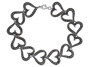 Pre-Owned Marcasite Rhodium Over Sterling Silver Heart Shaped Bracelet 1.3mm