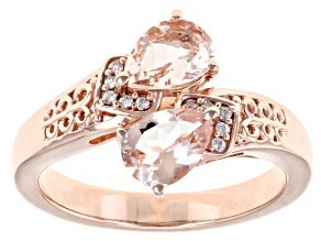 Pre-Owned Peach Morganite 18K Rose Gold Over Sterling Silver Ring. 0.92ctw