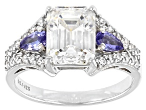 Pre-Owned Fabulite Strontium Titanate with tanzanite and zircon rhodium over sterling silver ring 4.