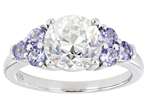 Pre-Owned Fabulite strontium titanate and tanzanite rhodium over sterling silver ring 3.77ctw