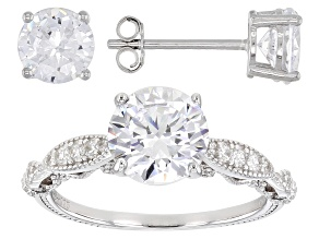 Pre-Owned Cubic Zirconia Rhodium Over Sterling Silver Ring With Earring Set