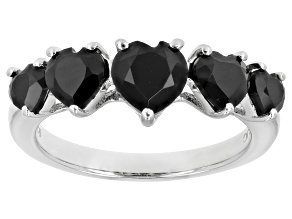 Pre-Owned Black Spinel Rhodium Over Sterling Silver 5-Stone Ring 2.25ctw