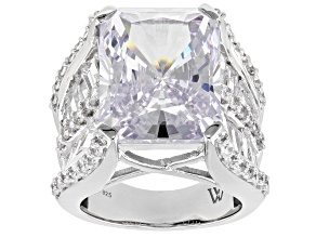 Pre-Owned  White Cubic Zirconia Rhodium Over Silver Ring