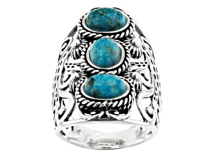 Pre-Owned Blue Turquoise Rhodium Over Sterling Silver 3-Stone Ring