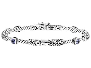 Pre-Owned Blue Tanzanite Rhodium Over Sterling Silver Bracelet 0.26ct
