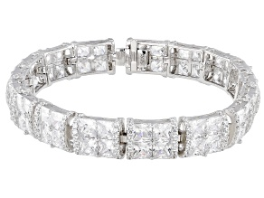 Pre-Owned White Cubic Zirconia Rhodium Over Sterling Silver Bracelet 41.87ctw (28.06ctw DEW)