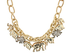 Pre-Owned Gold Tone Elephant Charm Necklace