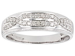 Pre-Owned White Diamond Rhodium Over Sterling Silver Mens Band Ring 0.35ctw
