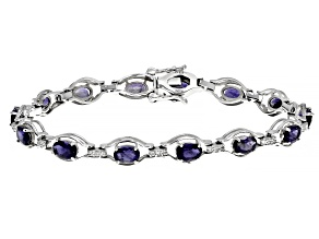 Pre-Owned Blue Iolite Rhodium Over Sterling Silver Bracelet 5.80ctw