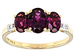 Pre-Owned Grape Color Garnet 10k Yellow Gold Ring 1.78ctw