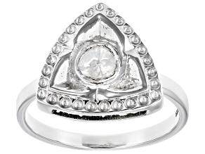 Pre-Owned Polki Diamond Sterling Silver Ring