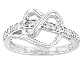 Pre-Owned White Diamond Rhodium Over Sterling Silver Open Design Heart Ring 0.30ctw