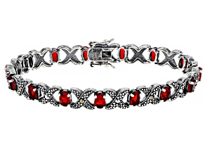 Pre-Owned Red Ruby Simulant With Marcasite Sterling Silver Over Bronze Bracelet