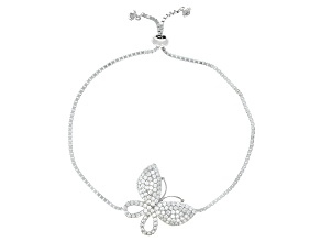 Pre-Owned White Cubic Zirconia Rhodium Over Sterling Silver Adjustable Butterfly Bracelet 3.02ctw