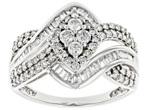 Pre-Owned White Diamond 10K White Gold Cluster Ring 1.00ctw