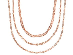 Pre-Owned 18K Rose Gold Over Sterling Silver Multi-Link Chain Necklace Set 20, 24, & 28 Inch