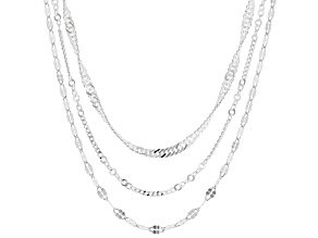Pre-Owned Sterling Silver Multi-Link Chain Necklace Set 20, 24, & 28 Inch