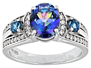 Pre-Owned Blue Oval Petalite Rhodium Over Sterling Silver Ring 1.74ctw