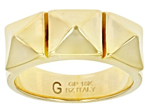 Pre-Owned Moda Al Massimo® 18K Yellow Gold Over Bronze Pyramid Design Ring