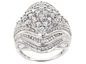 Pre-Owned White Cubic Zirconia Rhodium Over Sterling Silver Ring 4.18ctw