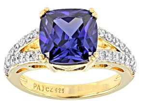 Pre-Owned Blue And White Cubic Zirconia 18K Yellow Gold Over Sterling Silver Ring 3.91ctw