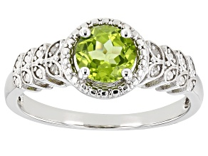 Pre-Owned Green Peridot Rhodium Over Sterling Silver Ring .81ctw