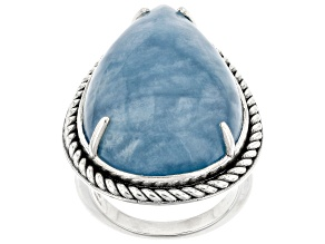Pre-Owned Blue Dreamy Aquamarine Rhodium Over Sterling Silver Ring