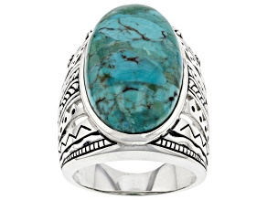 Pre-Owned Blue Turquoise Rhodium Over Sterling Silver Ring