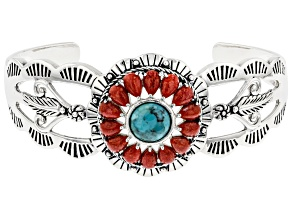 Pre-Owned Turquoise with Pear Shaped Coral Rhodium Over Sterling Silver Cuff Bracelet