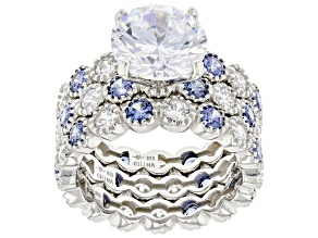 Pre-Owned Blue and White Cubic Zirconia Rhodium Over Sterling Silver Ring Set 9.88ctw