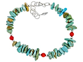 Pre-Owned Fancy Cut Turquoise and Red Coral Rhodium Over Sterling Silver Bracelet