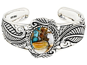 Pre-Owned Blended Turquoise and Spiny Oyster Shell Rhodium Over Silver Cuff Bracelet