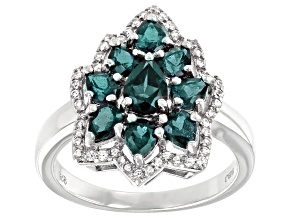 Pre-Owned Blue Lab Created Alexandrite Rhodium Over Silver Ring 1.92ctw