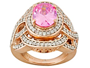 Pre-Owned Pink And White Cubic Zirconia 18k Rose Gold Over Sterling Silver Ring 5.73ctw