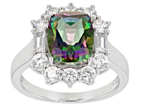 Pre-Owned Green Mystic Fire(R) Topaz Rhodium Over Sterling Silver ring 4.30ctw